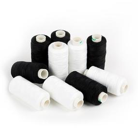Набор бытовых ниток Dor Tak 20/3 джинсовые 183м 100% п/э, цв.черные/белые уп.10шт. фото