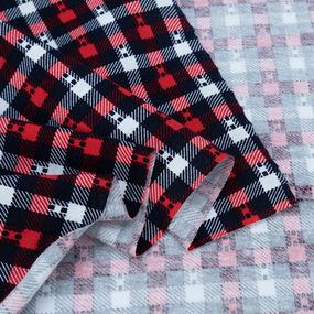 Ткань на отрез кулирка R2013-V1 Клетка цвет красный фото