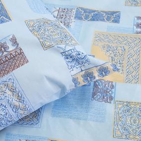 Комплект простыня 1.5 сп + 1 нав. 70/70 бязь 356/1 Арабеска цвет голубой фото