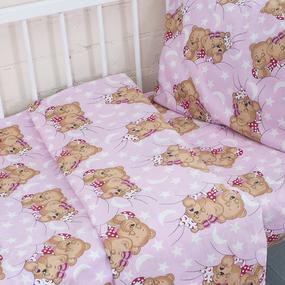 Постельное белье в детскую кроватку из бязи ГОСТ 1286/2 Соня розовый фото
