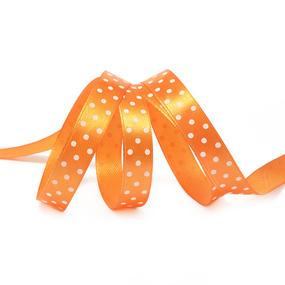 Лента атласная горох ширина 12 мм (27,4 м) цвет 668029 оранжевый-белый фото
