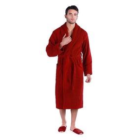 Халат мужской махровый Элегия воротник шалька бордовый р.46 фото