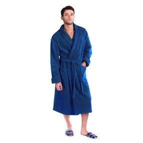 Халат мужской махровый Элегия воротник шалька синий р.46 фото