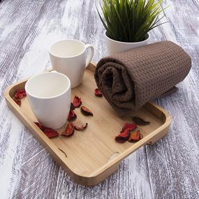 Полотенце вафельное банное Премиум 150/75 см 842 шоколад фото