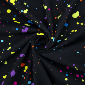 Ткань на отрез кулирка R8114-V1 Клякса на черном фото