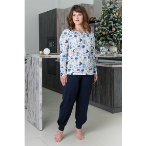 Костюм (блуза+брюки) 0748-16 цвет Голубой р 44 фото