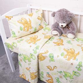 Постельное белье в детскую кроватку из бязи 203131 Динозаврики фото