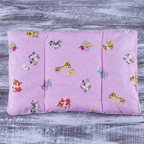Подушка для новорожденных 40/60 цвет розовый с рисунком фото