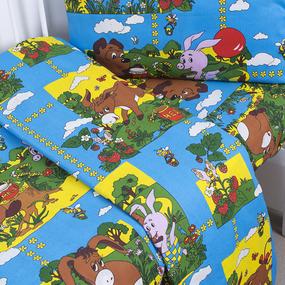 Постельное белье в детскую кроватку 820/1 Винни Пух синий с простыней на резинке фото