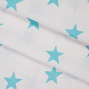 Бязь плательная б/з 150 см 8130/6 Звезды цвет бирюза фото