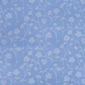 Ткань на отрез Тик 220 см 145 +/- 5 гр/м2 Ромашки цвет голубой серебро 215 фото