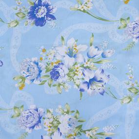 Ткань на отрез Тик 220 см 145 +/- 5 гр/м2 Цветная роза цвет голубой 005 фото