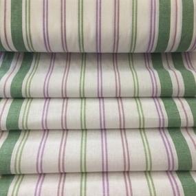 Ткань на отрез полулен полотенечный 50 см 27/3 Полоса брусника зеленый 703096 фото