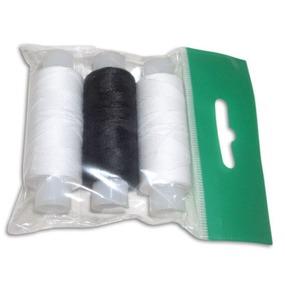 Нитки армированные 45ЛЛ 'Домино' цв.белый, черный, белый уп.3шт 150м, С-Пб фото