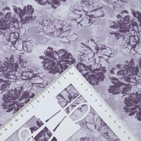Ткань на отрез кулирка 2389-V1 Пионы цвет сиреневый фото