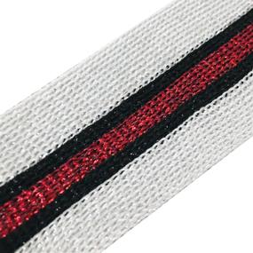Лампасы №83 серебро красный люрекс 3,5 см 1 метр фото