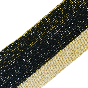 Лампасы №82 черный беж люрекс золото 3 см 1 метр фото
