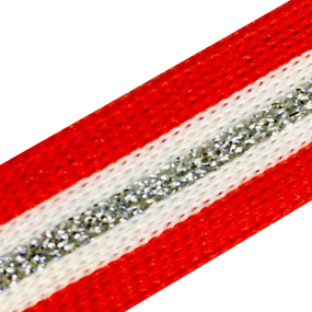 Лампасы №74 красно белые люрекс серебро 2 см 1 метр фото