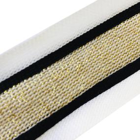 Лампасы №72 черные белые золото люрекс 3см 1 метр фото