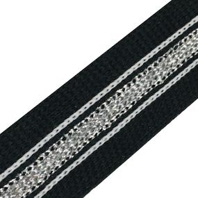 Лампасы №69 черный полоска люрикс серебро белые строчки 2см 1 метр фото