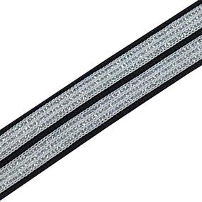 Лампасы №51 черно белые полосы серебро 2 см 1 метр фото