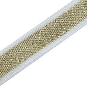 Лампасы №48 золото белые полосы 2 см 1 метр фото