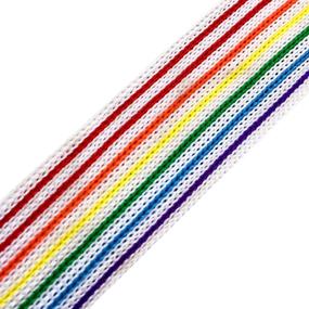 Лампасы №34 белые с разноцветными полосками 2,5см 1 метр фото