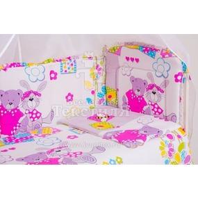 Набор в кроватку 7 предметов с оборками Зайка и мишка фото