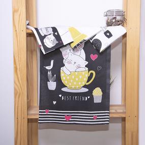 Набор полотенец рогожка 4 шт 35/60 см 3059-1 Котики и кактусы фото