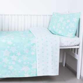 Постельное белье в детскую кроватку 1556/7А+1683/16 цвет мята фото