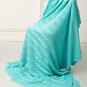 Покрывало-плед Коса 180/200 цвет мята фото