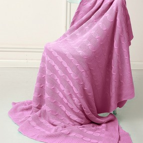 Покрывало-плед Коса 180/200 цвет розовый фото
