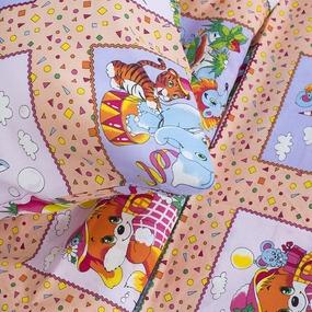Детское постельное белье из бязи 1.5 сп 8088/3 Веселые картинки персиковый фото