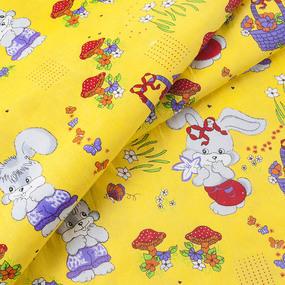 Ткань на отрез бязь ГОСТ детская 150 см 1304/5 Лесная сказка цвет желтый фото