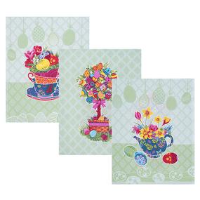 Набор вафельных полотенец 3 шт 45/60 см 3020-2 Пасхальное дерево цвет зеленый фото