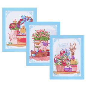 Набор вафельных полотенец 3 шт 45/60 см 3021-1 Светлая пасха цвет голубой фото