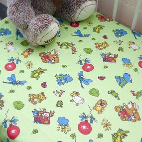 Простынь детская бязь ГОСТ 383/2 Зоопарк цвет зеленый 110/150 см фото