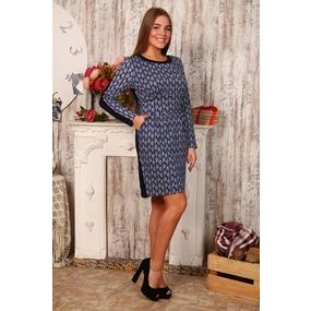 Платье Мария Интерлок огурцы на тем. синем Д412 р 56 фото