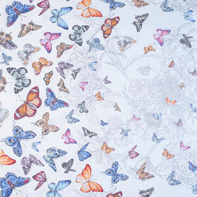 Бязь Премиум 150 см набивная Тейково рис 13091 вид 1 Бабочки фото