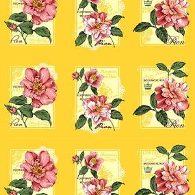 Вафельное полотно набивное 150 см 0098/4 Пионы цвет жёлтый фото