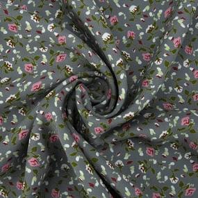 Маломеры штапель 150 см 20015 Розовые цветы на сером 1,6 м фото