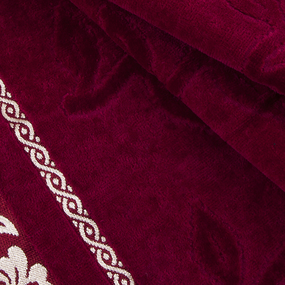 Полотенце велюровое Европа 50/90 см цвет бордовый с вензелями фото