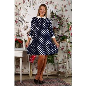 Платье Валерия вискоза горох Д437 р 56 фото