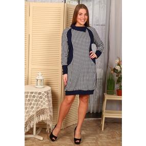 Платье Вика гусиная лапка+тем.син. Д416 р 60 фото