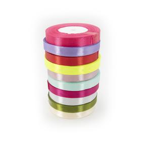 Набор атласных лент 12мм 25ярд цвет в ассортименте 10 шт фото