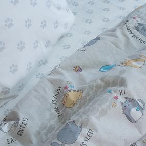 Детское постельное белье из бязи 1.5 сп 3033-4 Котики цвет серый фото