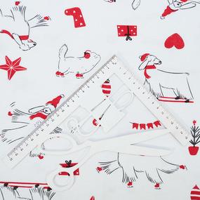 Ткань на отрез интерлок Новогодние собаки 2963-21 фото