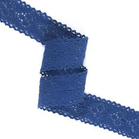 Кружево лен 22136 т.синий 4,5см уп 10 м фото