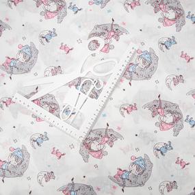Ткань на отрез поплин 150 см Сладкий сон на белом фото