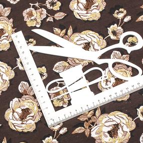 Маломеры кулирка лайкра с глиттером Розы на коричневом R340 0.8 м фото
